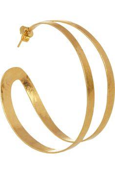 Hervé Van der Straeten|Hammered gold-plated hoop earrings|NET-A-PORTER.COM