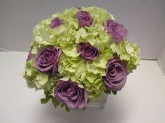 lavender and white floral arrangements square vase   hand tie bridal bouquet; white hydrangea, lavender roses