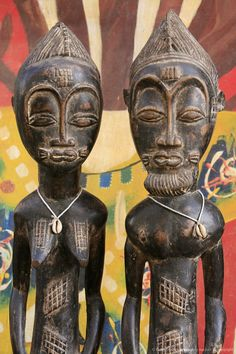African statues, Saint Louis, Senegal, West Africa.