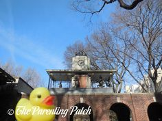 The Duck and the Delacorte Clock features a rubber duck beneath the Delacorte Clock --- a clocked named after philanthropist George T. Delacorte that brings seasonal chimes and nursery rhymes on the half hour --- in Central Park.