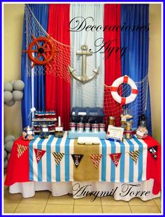 picture back drops for nautical themed baby shower Sailor Birthday, Sailor Party, Sailor Theme, Sailor Baby Showers, Anchor Baby Showers, Baby Shower Themes, Baby Boy Shower, Baby Shower Decorations, Table Decorations