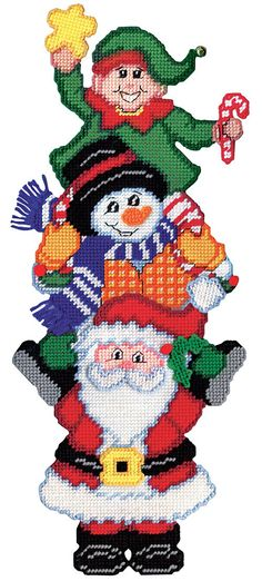 Santa, a snowman and an elf are in this Christmas pile up plastic canvas kit. Plastic Canvas Ornaments, Plastic Canvas Crafts, Free Plastic Canvas Patterns, Needlepoint Patterns, Cross Stitch Patterns, Afghan Patterns, Tissue Box Crafts, Christmas Wall Hangings, Plastic Canvas Christmas