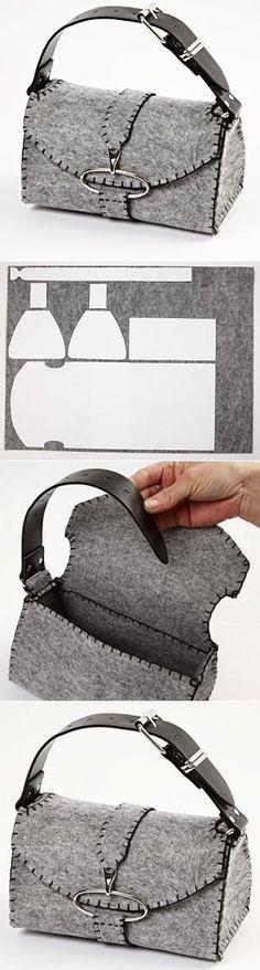 felt bag  Alça feita com um cinto