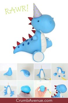 cute, dinosaur, party, birthday, baby shower, how to make, step by step, tutorial, free, idea, inspiration, clay, Crumb Avenue, figure, figurine, fondant, gum paste, cake decorating, hat, sitting, dino