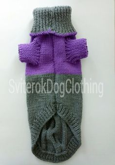 Pattern Grey Violet Sweater For Dog. Sweater For Pet. Sweater For Big Dog.Handmade Knit Pet Clothes.Pet Clothing. Knitting for Dogs.Size XL  SIZE: 1 inch = 2,54cm  Back lenghts- of 50cm (19.68 inch) Chest - 45cm (17.71 inch) Neck - 40cm (15.74inch)  The original new 100% handmade