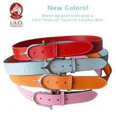 New! Colorful leather Inglesa belts made in Spain by LILO Collections