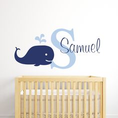 With this Whale Wall Decor Make your child's nursery room a fun space to grow up . This nursery room decor features a large image of a unique whale. Nautical Nursery Decor, Baby Boy Room Decor, Nursery Room Decor, Nursery Wall Decals, Baby Boy Rooms, Nursery Ideas, Nautical Table, Playroom Ideas, Nursery Art