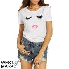 -NEW ARRIVAL-  Bat Your Lashes Tee PLEASE COMMENT TO BUY THIS LISTING with the SIZE you would like, I will make a separate listing for you! West Market SF Tops Tees - Short Sleeve