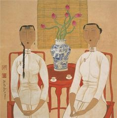 Oil Painting 'Hu Yongkai,Two Women Seated,21th Century' 18 x 18 inch / 46 x 46 cm , on High Definition HD canvas prints is for Gifts And Home Office, Home Theater And Living Room Decoration
