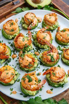 Blackened Shrimp Avocado Cucumber Bites - 42 pieces per tray - Shrimp Sweetly O. Blackened Shrimp Avocado Cucumber Bites - 42 pieces per tray - Shrimp Sweetly Only. Seafood Recipes, Gourmet Recipes, Appetizer Recipes, Cooking Recipes, Appetizer Ideas, Seafood Appetizers, Meat Recipes, Cucumber Appetizers, Canapes Recipes