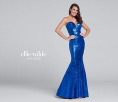 Ellie Wilde EW117033 - Strapless sequin fit and flare gown, deep plunging sweetheart neckline with illusion modesty panel, slight train. Removable straps included.