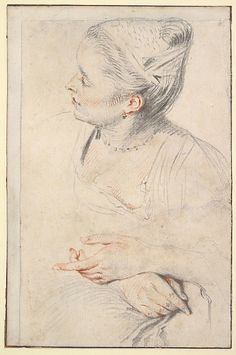 Study of a Woman's Head and Hands Antoine Watteau, ca. 1717. / Red and white chalk and graphite on off-white laid paper.