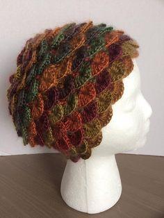 Knit winter hat/toque crochet crocodile stitch/dragon scale- multi fall-autumn colors Crochet Crocodile Stitch, Knit Crochet, Crochet Hats, Dragon Scale, Yarn Sizes, Autumn, Fall, Beanies, Winter Hats
