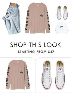 """jaw dr, tell me some good news please!"" by ainlsley ❤ liked on Polyvore featuring Victoria's Secret, Converse and NIKE"