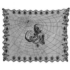 Decorate your party tables with this black lace skull design table cloth! Hand wash only. Keep away from fire and extreme sources of heat.