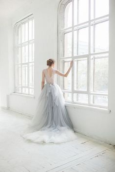 Subtle blue tulle wedding dress