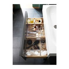 Bathroom sink sclera storage set - IKEA GODMORGON Box with compartments, clear clear 12 Ikea Makeup, Ikea Organization, Drawer Inserts, Make Up Organiser, Ikea Home, Ikea Us, Decoration Design, Transparent, Bathroom Storage