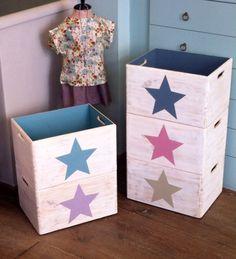 Colores de las cajas organizadoras de Ohana Bcn: azul bruma, malva, gris, rosa palo, piedra y faltan en la foto mint y rojo