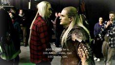 Legolas and Thranduil behind the scenes   my edits orlando bloom legolas Lee Pace Thranduil Hobbit Cast ...