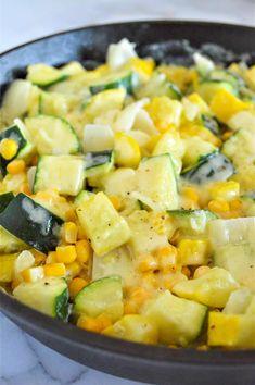 Cheesy Mexican Squash (Calabacitas) Zucchini Dinner Recipes, Zucchini Side Dishes, Yellow Squash Recipes, Vegetable Side Dishes, Vegetable Recipes, Mexican Squash, Mexican Zucchini, Stove Top Recipes, Side Dish Recipes