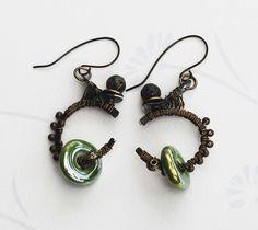 Wheel Of Life Zen Balancing Green Jasper Ceramic Wire Wrap OOAK Art Earrings #Jeanninehandmade #Wrap