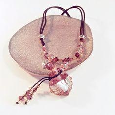 Chrystal, rosarot, Aroma-Schmuck Halskette, Duftschmuck mit ätherischen Ölen befüllbar