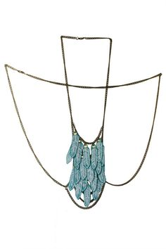 Banquise  Blue ice feather amulet harness body by paganpoetryshop, €135.00