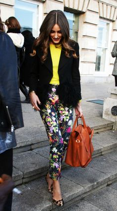 Paris model's summer Boho chic floral pants, yellow top black blazer, leopard print shoes and terracotta red bag