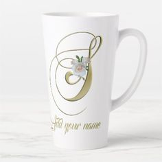 Elegant Monogram S Gold Initial Customize the Name Latte Mug - kitchen gifts diy ideas decor special unique individual customized Sharpie Mug Designs, Latte Mugs, Coffee Mugs, Personalised Gifts Unique, Pet Water Fountain, Painted Mugs, S Monogram, Graphic Design Tips, Star Designs