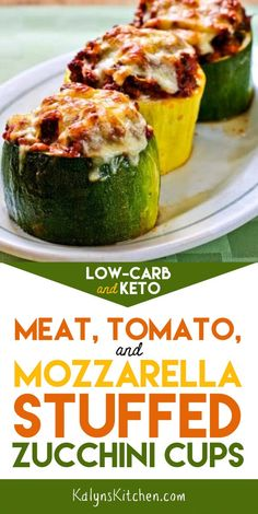 Low-Carb Meat, Tomato, and Mozzarella Stuffed Zucchini Cups are a great way to use those giant zucchini that show up in the garden! This is delicious and reheats well, so make the full recipe! [found on KalynsKitchen.com] #KalynsKitchen #MeatTomatoMozzarellaStuffedZuchiniCups #StuffedZucchiniCups #MeatStuffedZucchiniCups #ZucchiniCups