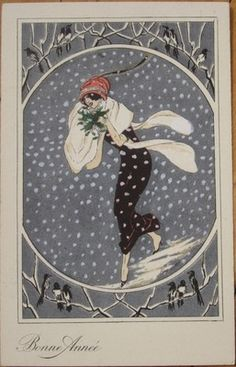 1920s xavier sager signed french new year postcard art deco woman in the snow ebay