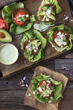 Lettuce Wrapped Grain-free Sweet Potato and Broccoli Veggie Burgers with Cilantro Sauce // @tastyyummies // www.tasty-yummies.com