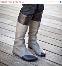 Perfect Two Tone Grey and Black leather women boots. These knee high boots have a back zipper which give them a bit of a sexy twist but keep