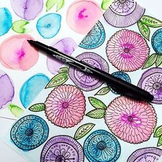 Intricate floral illustrations using @tombowusa's MONO Twin Permanent Marker
