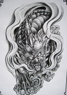 PDF Format Tattoo Book 79 pages Various Beautiful Dragon Lion Kirin Tattoo Designs Tattoo Flash Sketchbook with Outlines Sketch