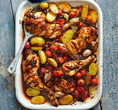 Everyone loves an easy traybake, this chicken dish with spicy harissa paste is roasted to perfection with garlic, potatoes and cherry tomatoes