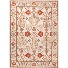 Jaipur Rugs RUG103542 Hand-Tufted Arts and Craft Pattern Wool Ivory/Red Area Rug ( 5x8 )