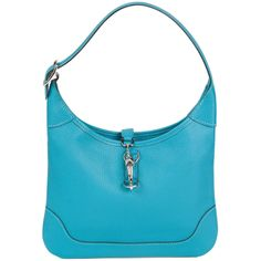 2004 Hermes Turquoise Chèvre Mysore Leather 24cm Trim Bag | From a collection of rare vintage handbags and purses at https://www.1stdibs.com/fashion/accessories/handbags-purses/
