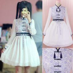 """Harajuku fashion chiffon dress - Use the code """"batty"""" at Sanrense for a 10% discount!"""