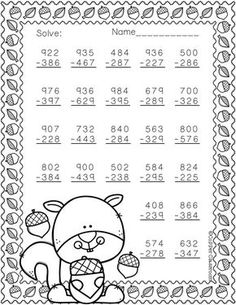 Free More Fall Themed 3 Digit Subtraction With Regrouping 2nd Grade Math Worksheets, Subtraction Worksheets, Math Tutor, Teaching Math, Second Grade Math, 4th Grade Math, Math Resources, Math Activities, Math Sheets