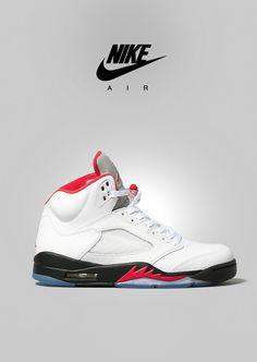shoe-pornn:  Nike Air Jordan-Retro 5-White/Varsity Red.