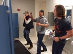 """Florida Georgia Line: """"This isn't a picture of three full grown men getting caught choreographing dance moves in a bathroom. Not us @Luke Eshleman Eshleman Eshleman Bryan, not us. :)"""" I love it!"""