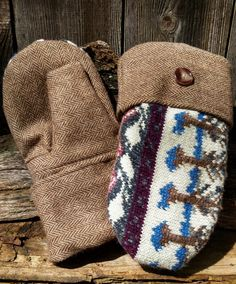 These unique handmade mittens have a upcycled patterned wool sweater front with a recycled brown tweed herringbone patterned wool coat palm and cuff. The are lined in a brown fleece and have a medium-sized brown button detail. Sweater Mittens, Sweaters, School Sets, Teaching Art, Tweed, Upcycle, Reusable Tote Bags, Pairs, Trending Outfits