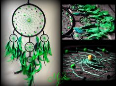 """ I will willingly waste my time in the woods....specially when the jungle is alive & inviting.""   Green & Black Dreamcatcher.     #craft #handmade #decor #homedecor #nativeamerican #india #home #decoration #furnishing #athome #goa #accessories #psychedelic #black #green #hippie #mystic #dreamcatcher #american #mysticcrafts #woods #jungle #forest #trees #greendreamcatcher #blackdreamcatcher"