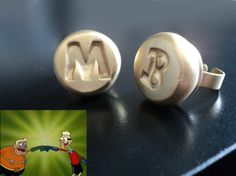 Mermaid Man and Barnacle Boy Ring Set by HappysCharms on Etsy- OMG I WANT