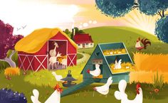 Illustrations I've made for the board book about the farm.Published by Usborne 2015