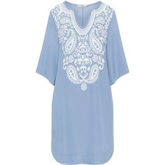 Mat Light-Blue / White Plus Size Rubber print denim-look tunic ($74) ❤ liked on Polyvore featuring tops, tunics, plus size, plus size denim tunic, 3/4 sleeve tunic, womens plus size tunics, womens plus tops and plus size v neck tops