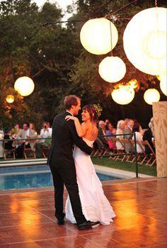 chinese lanterns over dance floor Wedding Prep, Our Wedding, Wedding Things, Wedding Stuff, Pool Dance, Let The Fun Begin, Chinese Lanterns, American Wedding, Married Life