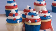 Treat your guests to these colorful cupcakes made using Betty Crocker® SuperMoist® white cake mix and frosting – perfect dessert for Fourth of July.