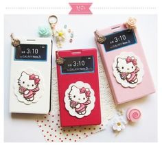 Hello Kitty Angel Pendant View cover Flip For Samsung Galaxy Note3 case Pink